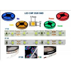 STRISCIA LED 3528-60LED/MT RGB 5mt 12V IP20  NON RESINATO