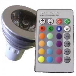 LAMPADINA LED BULBO 3W RGB  RADIOCOMANDO - E27